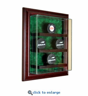 9 Hockey Puck Cabinet Style Display Case - Cherry