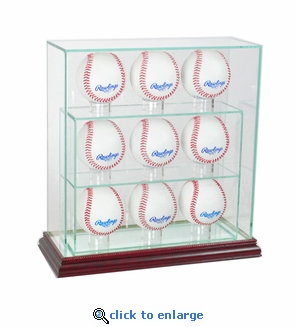 9 Baseball Upright Display Case - Cherry