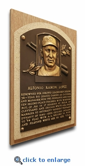 Al Lopez Baseball Hall of Fame Plaque on Canvas - Cleveland Indians
