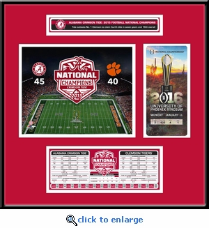Alabama Crimson Tide 2015 Football National Champions Ticket Frame with Stat Box
