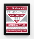Alabama Crimson Tide 2017 Football National Champions Team Sign Framed Print