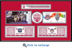 Alabama Crimson Tide Back to Back National Champions Tickets to History Replica Ticket Frame