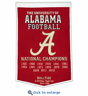 Alabama Crimson Tide National Champions Dynasty Wool Banner (24 X 36)