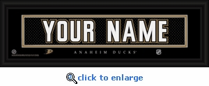 Anaheim Ducks Personalized Stitched Jersey Nameplate Framed Print