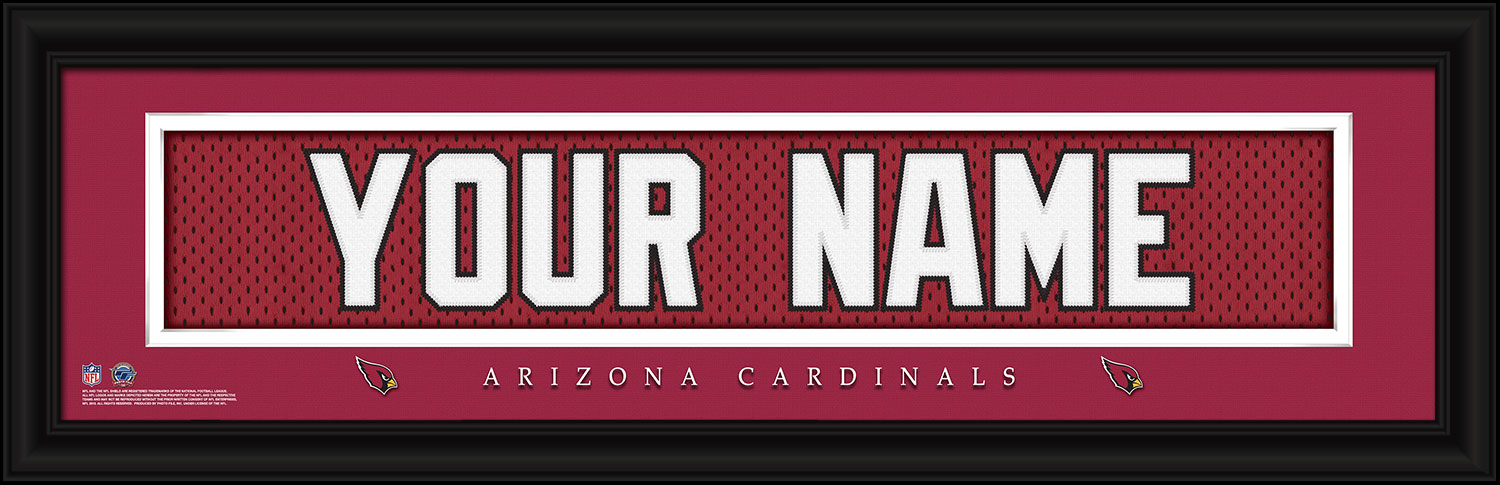 wholesale dealer d1017 15f62 Arizona Cardinals Personalized Stitched Jersey Nameplate Framed Print