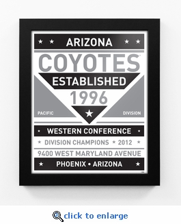 Arizona Coyotes Black and White Team Sign Print Framed