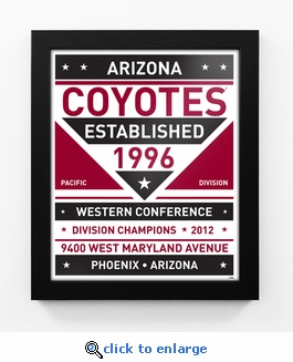 Arizona Coyotes Dual Tone Team Sign Print Framed
