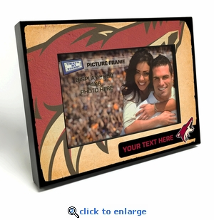 Arizona Coyotes Personalized Vintage Style Black Wood Edge 4x6 inch Picture Frame