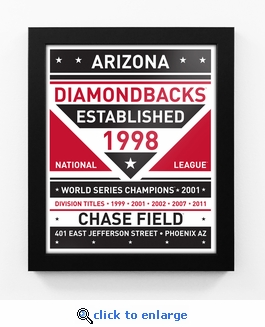 Arizona Diamondbacks Dual Tone Team Sign Print Framed