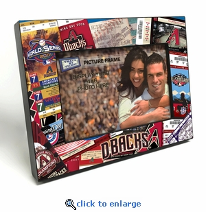 Arizona Diamondbacks Ticket Collage Black Wood Edge 4x6 inch Picture Frame