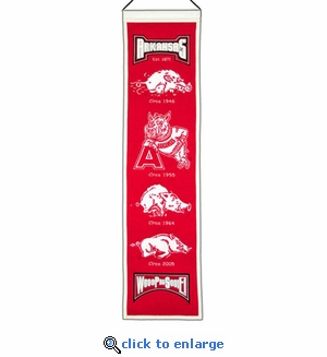 Arkansas Razorbacks Heritage Wool Banner (8 x 32)