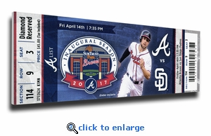 Atlanta Braves 2017 Opening Day / First Game at SunTrust Park Canvas Mega Ticket