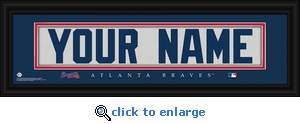 Atlanta Braves Personalized Stitched Jersey Nameplate Framed Print