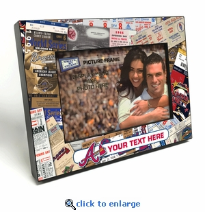 Atlanta Braves Personalized Ticket Collage Black Wood Edge 4x6 inch Picture Frame