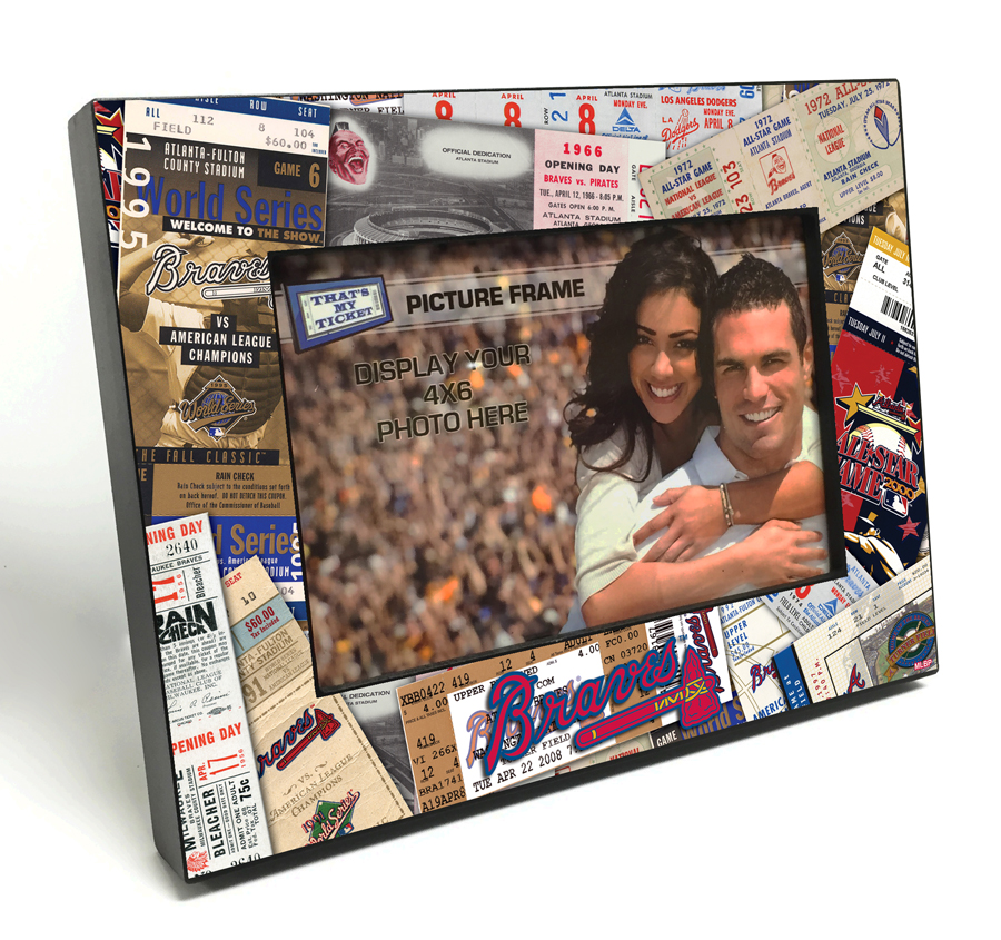 Atlanta Braves Ticket Collage Black Wood Edge 4x6 inch Picture Frame