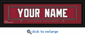 Atlanta Falcons Personalized Stitched Jersey Nameplate Framed Print