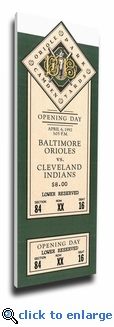 Baltimore Orioles 1992 Opening Day / First Game at Camden Yards Canvas Mega Ticket