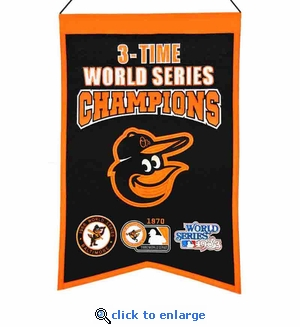 Baltimore Orioles 3-Time World Series Champions Wool Banner (14 x 22)