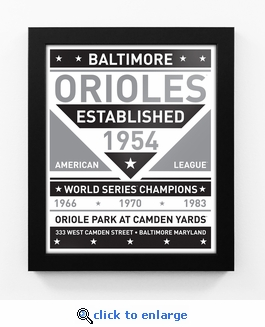 Baltimore Orioles Black and White Team Sign Print Framed