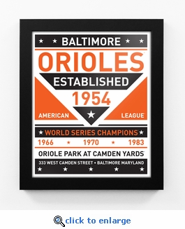 Baltimore Orioles Dual Tone Team Sign Print Framed