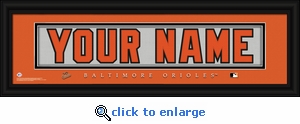 Baltimore Orioles Personalized Stitched Jersey Nameplate Framed Print