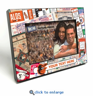 Baltimore Orioles Personalized Ticket Collage Black Wood Edge 4x6 inch Picture Frame