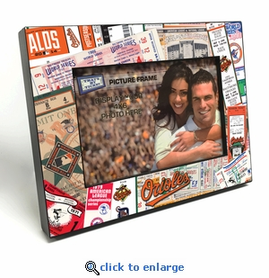 Baltimore Orioles Ticket Collage Black Wood Edge 4x6 inch Picture Frame