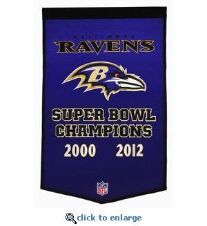 Baltimore Ravens Super Bowl Dynasty Wool Banner (24 x 36)
