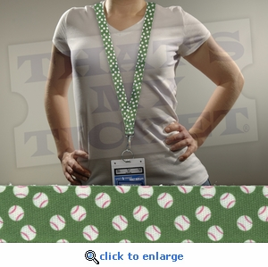 Baseballs Green Novelty Lanyard Key Chain with optional Ticket Holder