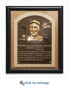 Bob Feller Baseball Hall of Fame Plaque Framed Print - Cleveland Indians