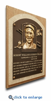 Bob Feller Baseball Hall of Fame Plaque on Canvas - Cleveland Indians