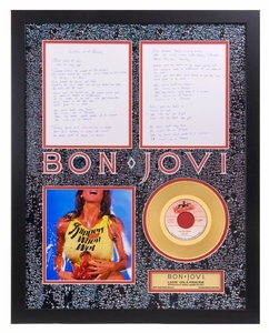 Bon Jovi - Livin' On A Prayer Framed Gold Record w/ Reproduction Lyric Sheets