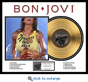 Bon Jovi - Slippery When Wet Framed Gold Record, LE 5,000