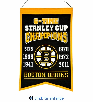 Boston Bruins 6-Time Stanley Cup Champions Wool Banner (14 x 22)