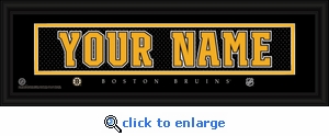 Boston Bruins Personalized Stitched Jersey Nameplate Framed Print