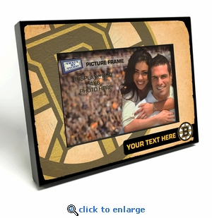 Boston Bruins Personalized Vintage Style Black Wood Edge 4x6 inch Picture Frame
