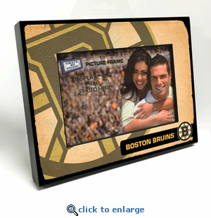 Boston Bruins Vintage Style Black Wood Edge 4x6 inch Picture Frame