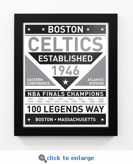 Boston Celtics Black and White Team Sign Print Framed