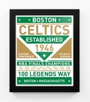 Boston Celtics Dual Tone Team Sign Print Framed