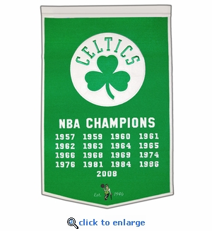 Boston Celtics NBA Champions Dynasty Wool Banner (24 x 36)