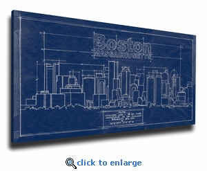 Boston Massachusetts Skyline Blueprint on Canvas