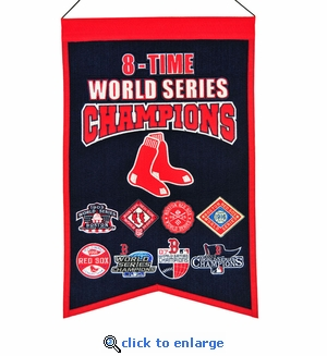 Boston Red Sox 8-Time World Series Champions Wool Banner (14 x 22)