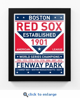 Boston Red Sox Dual Tone Team Sign Print Framed