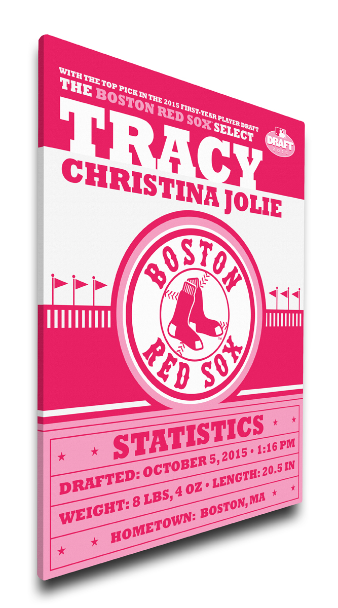 Boston red sox personalized canvas birth announcement baby gift negle Choice Image