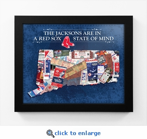 Boston Red Sox Personalized State of Mind Framed Print - Connecticut