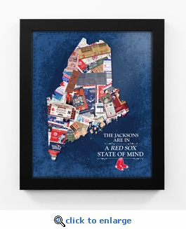 Boston Red Sox Personalized State of Mind Framed Print - Maine