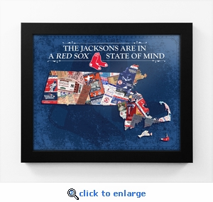 Boston Red Sox Personalized State of Mind Framed Print - Massachusetts