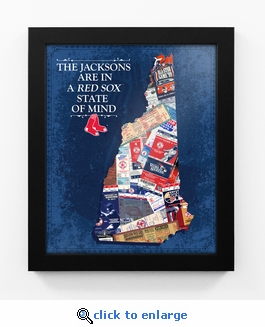 Boston Red Sox Personalized State of Mind Framed Print - New Hampshire