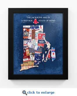 Boston Red Sox Personalized State of Mind Framed Print - Rhode Island