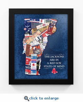 Boston Red Sox Personalized State of Mind Framed Print - Vermont